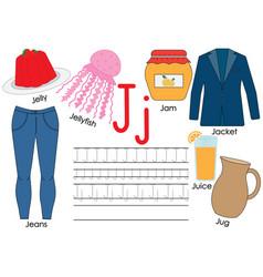 Letter j learning english alphabet writing vector