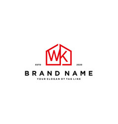 Letter wk home logo design concept vector