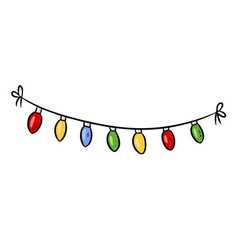 light bulbs holiday garland doodle vector image