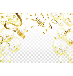 Many falling golden tiny confetti and ribbon vector