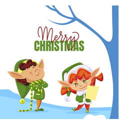 merry christmas elf preparing gifts in forest vector image