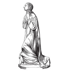 Morning prayer sculpture was depicts a woman vector