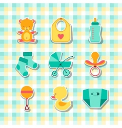 Newborn baby stuff icons stickers vector image