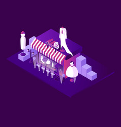 Night scene with isometric tailor atelier shop vector