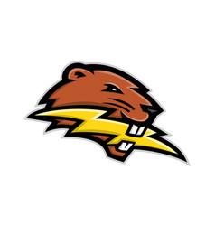 North american beaver lightning bolt mascot vector