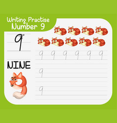 Number nine tracing worksheets vector