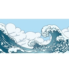 Ocean big wave in japanese style vector