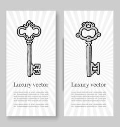old vintage keys banners set vector image