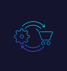 Order processing linear icon vector