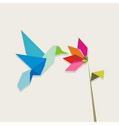 Origami hummingbird and flower on pastel vector image