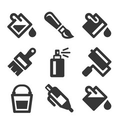 paint bucket tool icons set vector image