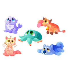 Plush toys funny soft seal cow cat with octopus vector