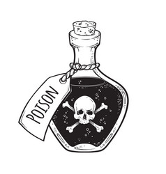 poison in bottle line art and dot work hand drawn vector image