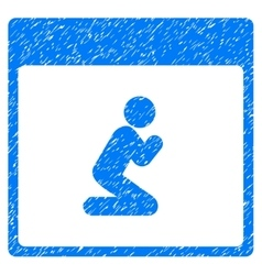 Pray Person Calendar Page Grainy Texture Icon vector