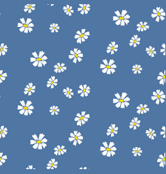 Retro daisy simple blue florals seamless vector