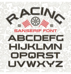 Sanserif font in retro racing style vector