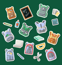 school supplies icons set in flat style vector image