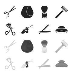 Scissors brush razor and other equipment vector
