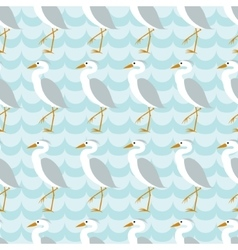 Seamless pattern with heron on blue wave vector image