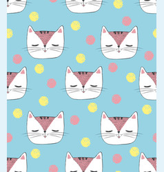 Seamless pattern with sketch white cat vector