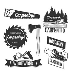 set of carpentry logo templates vector image