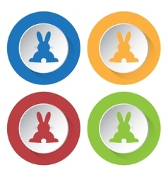 Set of four icons - back easter bunny vector
