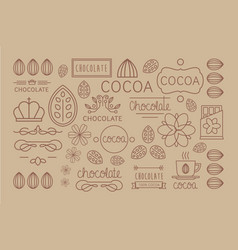 Set of linear cocoa labels original vector
