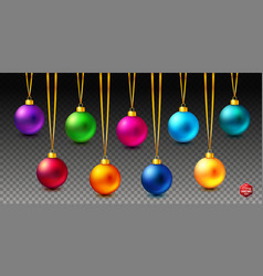 set of nine shiny bright and realistic colored vector image