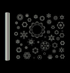set of silver fractal mandala vector image