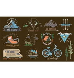 Set of vintage camp labels vector