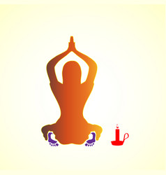 silhouette of a young woman girl praying icon vector image