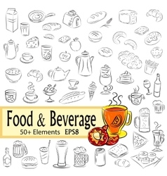 Sketch Set of Foods and Drinks vector image