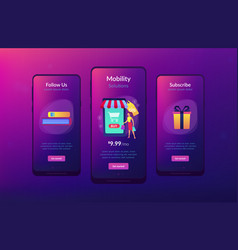 smart retail in smart city app interface template vector image