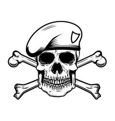 Soldier skull in paratrooper beret with crossed vector