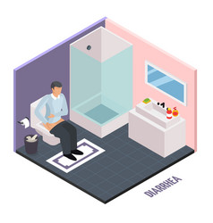 Stomach upset isometric composition vector
