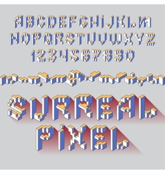 surreal cube alphabet vector image