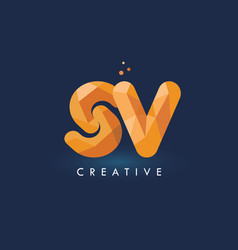 Sv letter with origami triangles logo creative vector