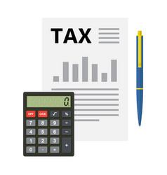 tax form calculator pen financial document vector image