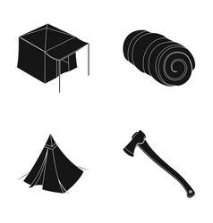 tent with awning ax and other accessoriestent vector image