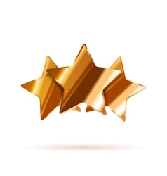 Three glossy bronze rating stars with shadow on vector image vector image