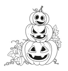 Three lantern from pumpkins with the cut out of a vector