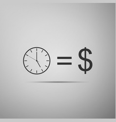 time is money sign icon money is time vector image