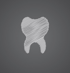 tooth sketch logo doodle icon vector image