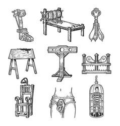 Torture device set sketch vector