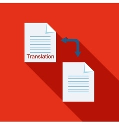 Translation of text on computer icon flat style vector