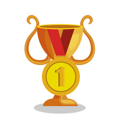 Trophy cup with medal award icon vector
