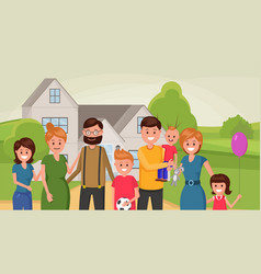united family together outside flat poster vector image