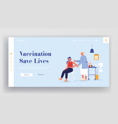Vaccination landing page template doctor vector