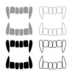 vampires teeths icon set grey black color vector image