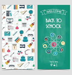 Vertical school flyer brochure banner Back to vector